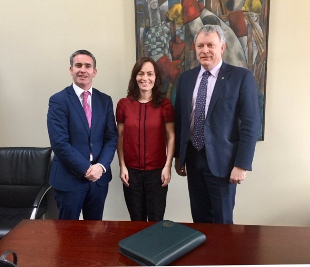 Pictured with Irish Minister for Housing and Urban Development, Damien English, TD, and party colleague Nichola Mallon, MLA