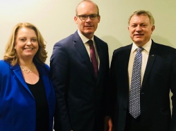 In Dublin for meetings on Brexit negotiations. Pictured with SDLP colleague, Sinéad Bradley MLA, and Tánaiste and Minister for Foreign Affairs, Simon Coveney TD. December 2017.