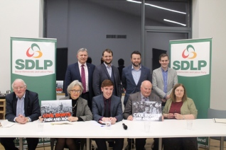 SDLP Civil Rights event in Dungannon in November 2017 to mark next year's 50th anniversary of the north's civil rights movements. Front row, left to right: SDLP co-founder Austin Currie, SDLP Civil Rights Committee chair Bríd Rodgers, Irish News journalist Brendan Hughes, Civil Rights activist Michael McLoughlin, former MP Bernadette McAliskey. Back row, left to right: Patsy McGlone MLA, Cllr Malachy Quinn, SDLP party leader Colum Eastwood and former NUS-USI president Fergal McFerran.