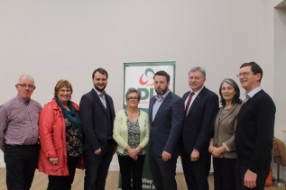 SDLP Civil Rights event in Dungannon in November 2017 to mark next year's 50th anniversary of the north's civil rights movements. From left to right: Eamon McNeill, Dolores Kelly MLA, Cllr Malachy Quinn, Cllr Christine McFlynn, SDLP party leader Colum Eastwood, Patsy McGlone MLA, Cllr Roisin Lynch, Cllr Martin Kearney.