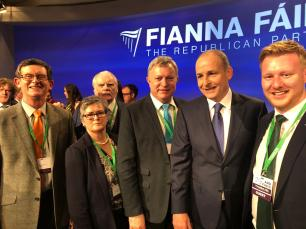 Mid Ulster Councillors Christine McFlynn and Martin Kearney with Mid Ulster MLA Patsy McGlone and Joe McBride met up with Micheál Martin, Leader of Fianna Fáil at the Fianna Fáil Ard Fheis February 2019